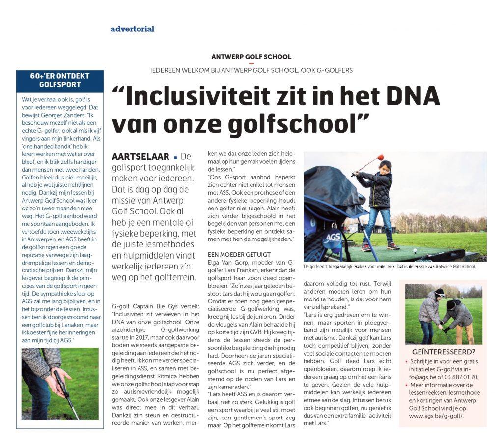artikel over G-sport bij Antwerp Golf School = golfen voor mensen met autisme of een lichte fysieke beperking
