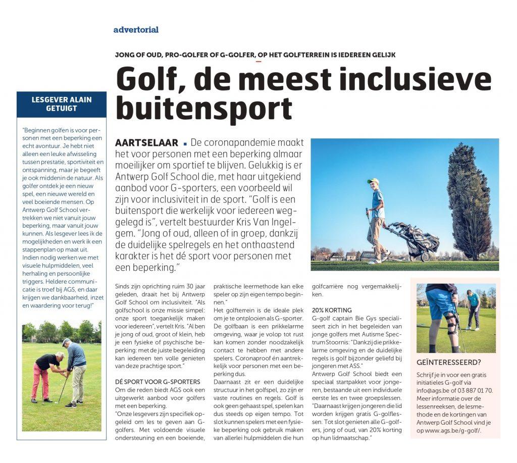 meer informatie over de G-sport werking op Antwerp Golf School